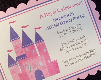 Personalized Princess Castle Birthday Party Invitations, set of 10