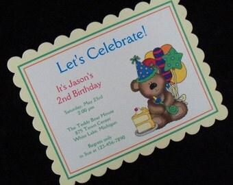 Personalized Birthday Bear Birthday Party Invitations, set of 10