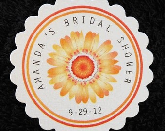 Personalized Bridal Shower Favor Tags, Set of 60 orange gerbera daisy