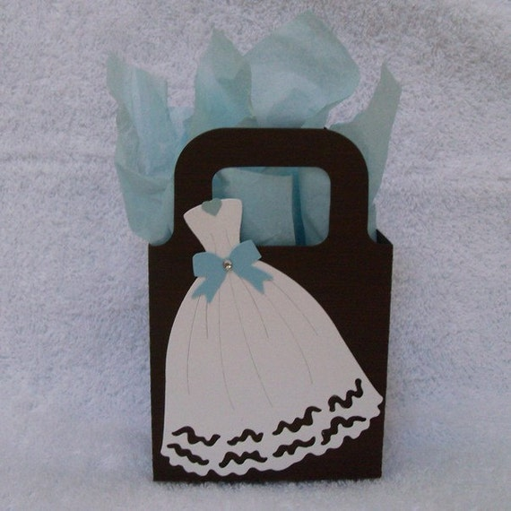 Bridal Shower or Wedding Favor Bags, Brown with White Wedding Gown ...