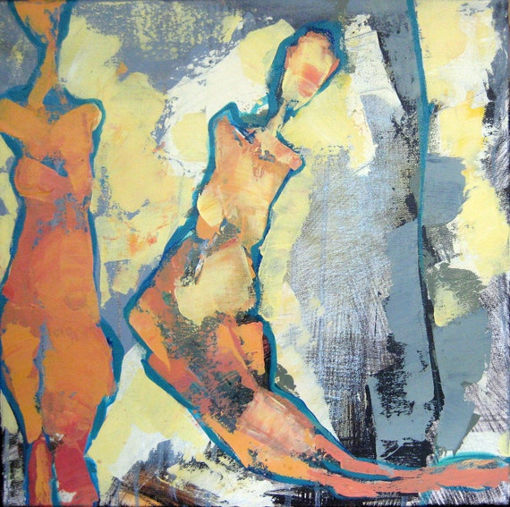 "Two Women   16"" x 16"" abstract painting on canvas"