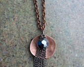 """Copper Necklace """"Fireworks at Night"""" Hand Hammered and Polished"""