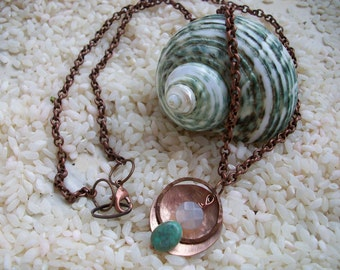 Copper Necklace Water and Foam Hand Hammered and Polished