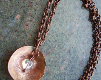 "Copper Necklace ""Hearts Aglow"" Hand Hammered and Polished"