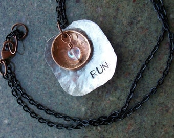 """Copper Necklace """"Run 2 Love 2 Run"""" Hand Hammered and Polished"""