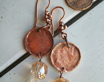 """Copper Earrings """"Lincoln Heights"""" Hand Hammered and Polished"""