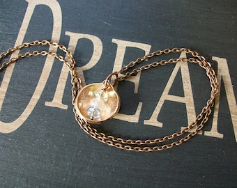 "Copper Necklace ""Wake up and Start Dreaming"" Hand Hammered and Polished"