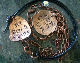 Copper thrones style Necklace & Bracelet ~ Metal stamped jewelry set of two ~ Moon of my life my sun and stars ~