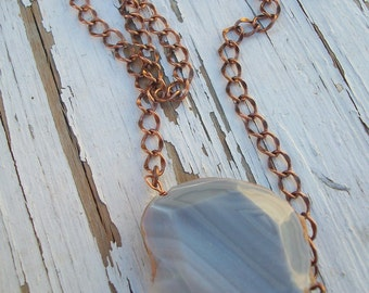 "Copper and Stone Necklace ""Glacial Melt"""