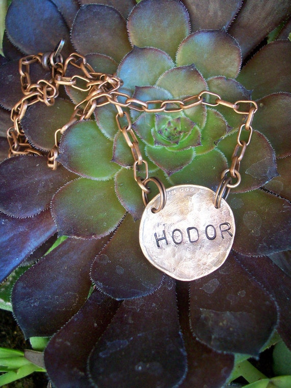 Hodor copper Necklace ~ hand hammered penny ~ Hodor Hodor Hodor ~ hold the door ~ noooooooo!!! Hodor :(