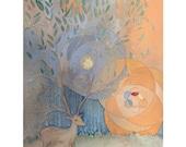 Baby Fawn Art Print - Nursery Art - Giclee Print - Limited Edition - Deer Antlers - Illustration - 8.5 x 11