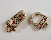 Magnetic Clasp Bell Heart Fold Over Antiqued Silver Plated Swarovski Crystals Lt Siam - 1 set - 3689