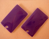 4 Purple Enamel rectangle Epoxy Charm Bead Double Sided Drop 23x14mm - 4 pc - 1805