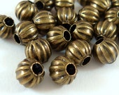 50 - 6mm Bronze Ribbed Bead Antique NF, 6mm, 2mm Hole - 50 pc - M7011-AB50