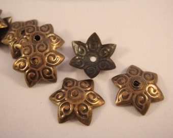 25 Star Bead Caps Antiqued Bronze Iron, 12mm - 25 Pc - F4069BC-AB25