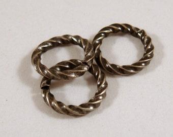 50 - 6mm Antique Silver Jump Rings Twisted Fancy Brass Open 16 gauge 6mm Outside - 50 pc - 3497