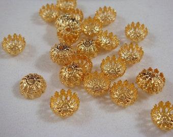 25 Gold Filigree Bead Caps Fancy Dome 8mm - 25 Pc - 1223-10