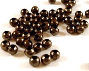 100 Black Spacer Beads Gunmetal 3mm Iron - 100 pc - M7013-B100
