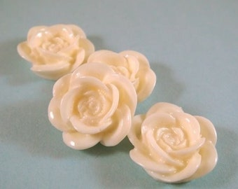 SALE - 8 White Cabochon Resin Flower Rose Bead 18mm - No Holes - 8 pc - CA2007-W8