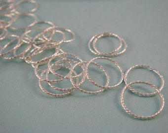 50 - 10mm Silver Jump Rings Fancy Twisted Open 21 gauge 10mm Outside - 50 pc - 4004