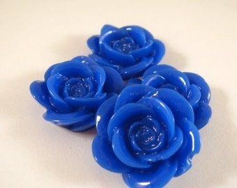 SALE - 8 Cabochon Rose Royal Blue Resin 18mm - No Holes - 8 pc - CA2007-B8