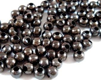 225 Black Spacer Beads 3mm Iron Metal Beads - 225 pc - M7013-B225