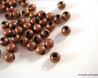 100 Antique Copper Metal Bead Plated Iron Spacer Bead 3mm Round No Nickel - 100 pc - M7013-AC100