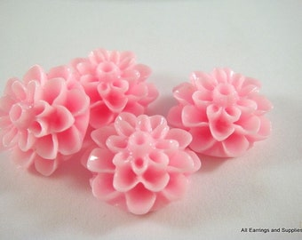 SALE - 10 Pink Cabochon Flowers Beads Resin Dahlia Bead 15mm - No Holes - 10 pc - CA2016-P10
