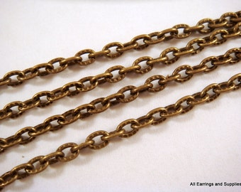 5ft Antique Bronze Chain Iron Cross LF/NF Iron 4x3mm Not Soldered - 5 feet - STR9013CH-AB5