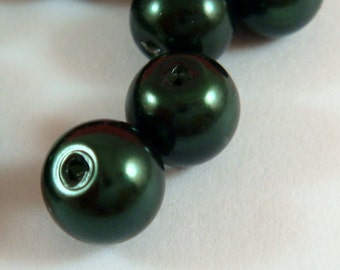 50 Glass Pearls 8mm Dark Green Beads - 14 inch - 5132