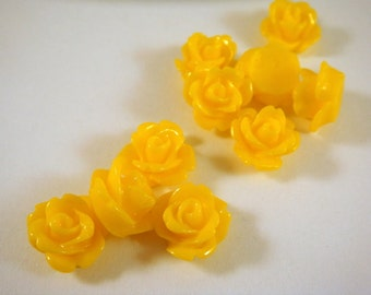 BOGO 10 Yellow Flower Cabochon Rose Resin Bead 10mm - No Holes - 10 pc - CA2006-Y10 - Buy 1, Get 1 Free - No coupon required