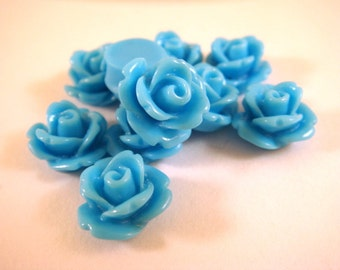 BOGO 10 Light Blue Flower Cabochon Beads Rose Resin Bead 10mm - No Holes - 10 pc - CA2006-LB10 - Buy 1, Get 1 Free - No coupon required