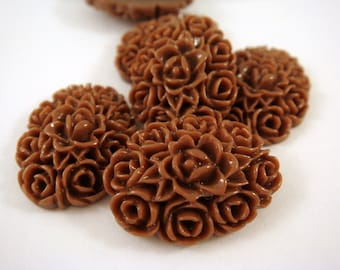 SALE - 6 Brown Resin Cabochon Flowers Opaque 18x13mm - No Holes - 6 pc - CA2001-BR6-AG