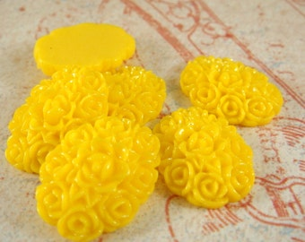 SALE - 6 Yellow Resin Cabochon Flowers Opaque 18x13mm - No Holes - 6 pc - CA2001-Y6-AG