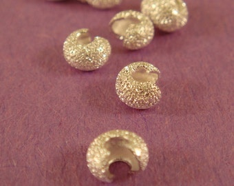 25 Silver Stardust Crimp Beads Cover 4mm Closed Plated Brass - 25 pc - 5543