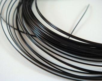 21ft Black Wire Half Round 18 Gauge Soft Tempered Non Tarnish Black Plated - 7 yds - STR9064WR-HRB21