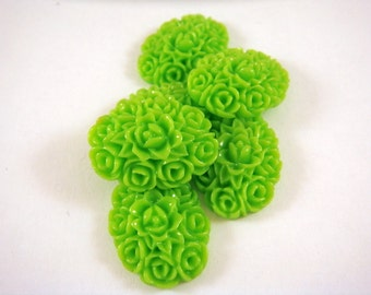 SALE - 6 Green Resin Cabochon Flowers Opaque Lime Green 18x13mm - 6 pc - CA2001-G6-AG