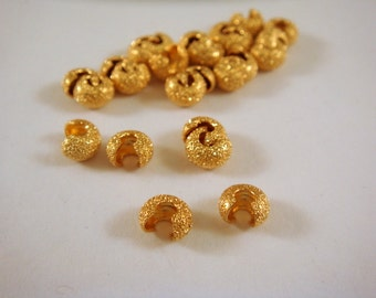 25 Gold Stardust Crimp Beads Cover 4mm Closed Plated Brass - 25 pc - 5544