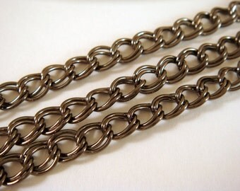 5ft Black Chain Double Link 6x5mm Gunmetal Plated Iron Not Soldered - 5 ft - STR9022CH-B5
