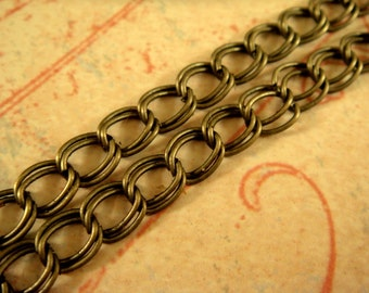 5ft Antique Bronze Chain Double Link 5x4mm Iron Not Soldered - 5 ft - STR9022CH-AB5