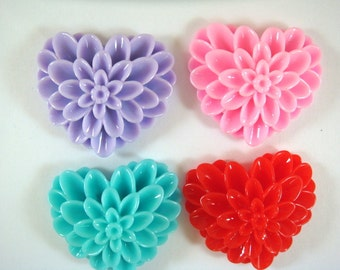 BOGO - 4 Heart Flower Cabochon Dahlia Resin Assortment 38x34mm - No Holes - 4 pc - CA2017-AS4 - Buy 1, Get 1 Free - No coupon required