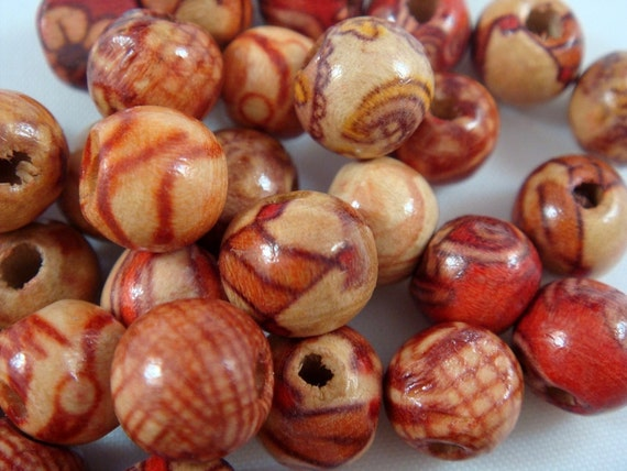 SALE - 17 - 12mm Wood Bead Assorted Artwood Beads - 17 pc - 5370 - LAST ONE