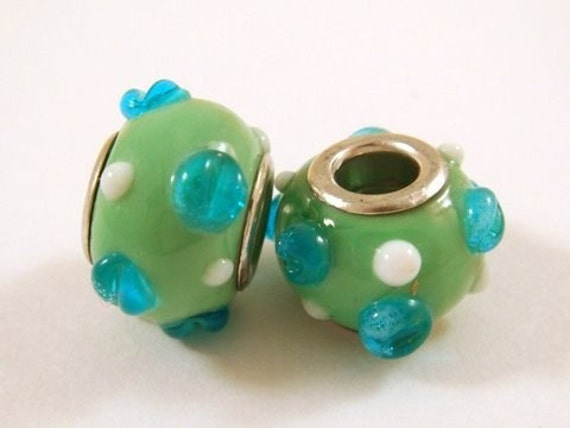 SALE - 2 Lampwork Pandora Style Lampwork Glass Green and Blue 14-15mm - 2 pc - 4212