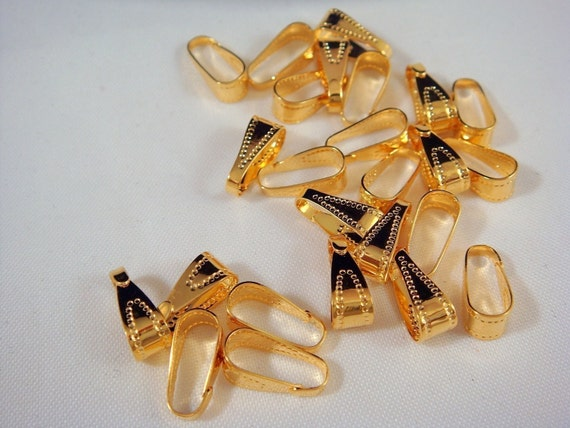 25 Gold Bail Snap On Plated Brass Pendant Bail Hook 10mm - 25 pc - 1353-15