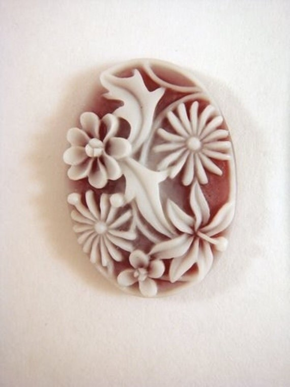 2 Cameo Cabochon Red Acrylic Oval w White Flowers 25x18mm - No Holes - 2 pc - 4373