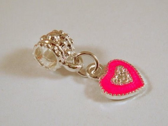 Pink Heart Spacer Bead Charm Pandora Style 23x6mm - 1 pc - 4473
