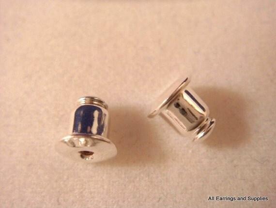 24 silver earring backs earnut plated barrel type 24 pc