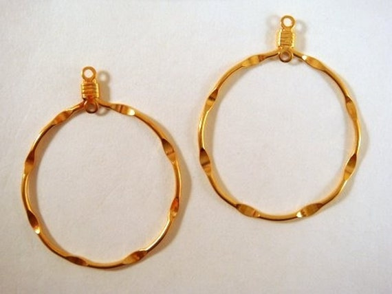 6 Gold Hoop Drop Beads Gold Plated 20mm Round - 6 pc - 4961-S