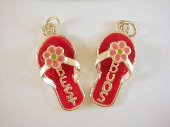 SALE - 2 Sandal Charms Red Best Buds 30x13mm Silver Plated - 5582-M