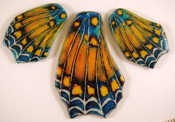 3 pc Butterfly Wing Pendant Focal Set Double Sided Laminated Focal - 3 pc - 5693
